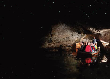 There are people in a small dinghy inside a cave looking at glow worms